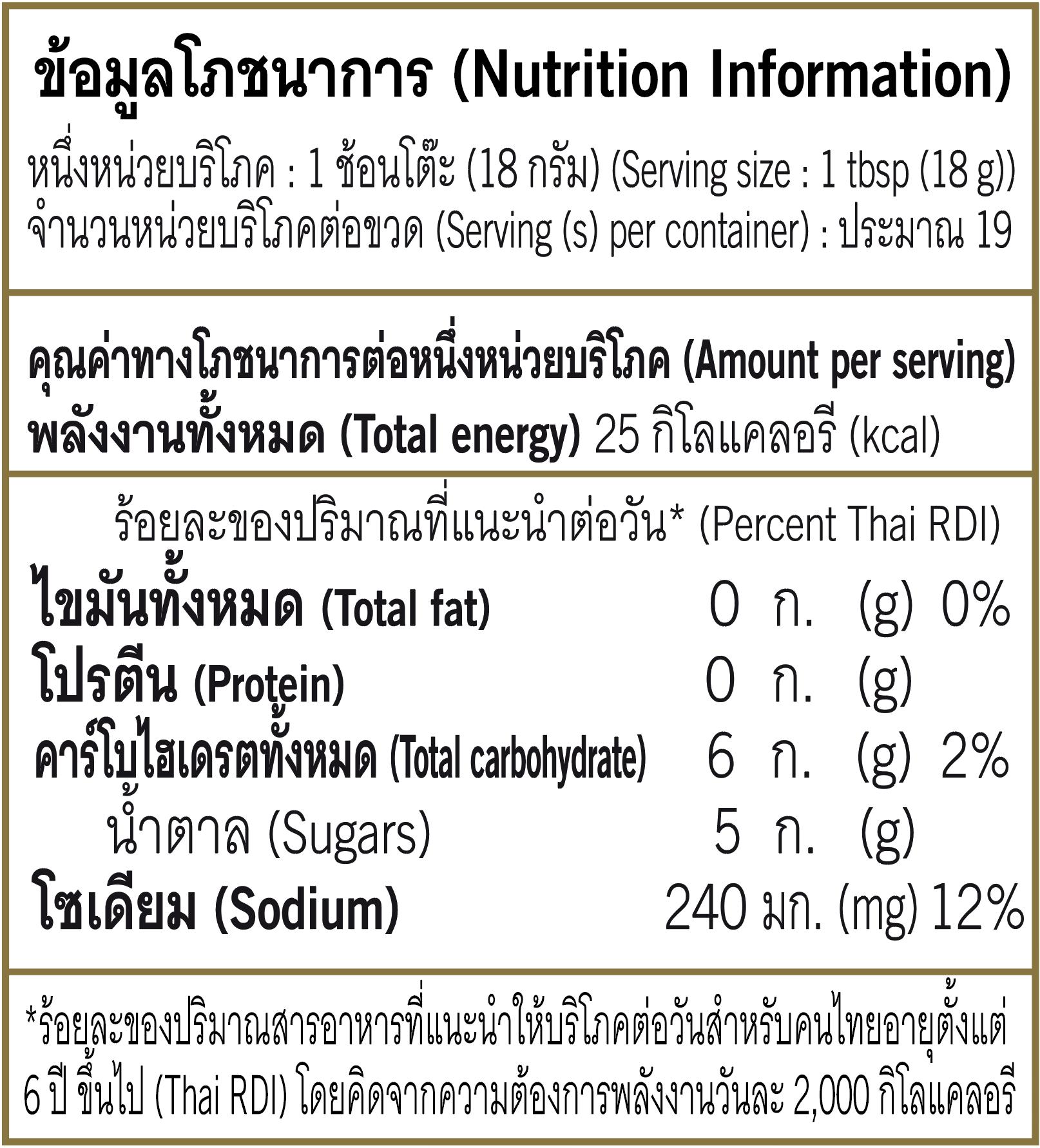 Nutrition Chili Sauce